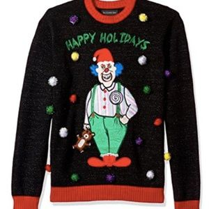 MEN'S HAPPY HOLIDAYS CLOWN UGLY CHRISTMAS SWEATER